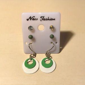 Set of 3 Green Earrings